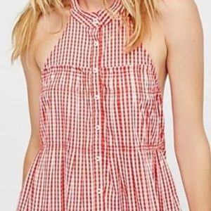 Free People Gingham Check Halter Top